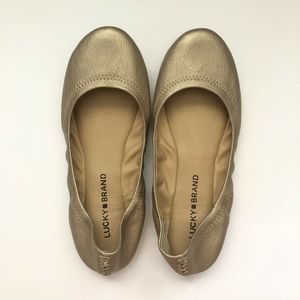 Lucky Brand Emmie Gold Metallic Leather Flats 6.5M
